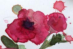 Red Dahlia original floral watercolor painting Angela Moulton ACEO Art #Impressionism
