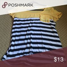 Color block striped tshirt Yellow is sheer, stripes are very soft and comfortable. Barely worn Charming Charlie Tops Blouses