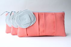 Pleated Clutch Set of 4, Bridesmaid Gift, Coral and Gray, Personalized