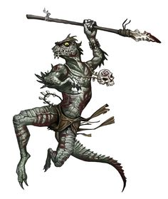 Male Troglodyte Fighter Warrior - Pathfinder PFRPG DND D&D 3.5 5th ed d20 fantasy