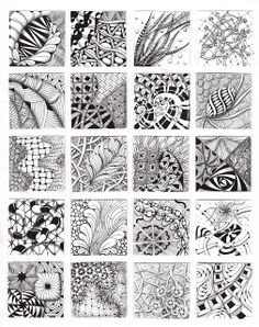 Lots of zentangle patterns