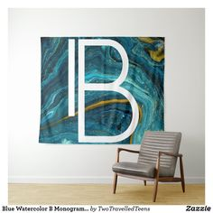 Blue Watercolor B Monogram Tapestry Marble Tapestry, B Monogram, Bed Spreads, Vivid Colors, Picnic Blanket, Watercolor, Artwork, Prints, Blue