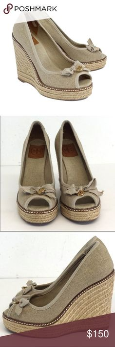"""Tory Burch Jackie Peep-Toe Espadrille Wedge Worn once! See product description below: Linen lets loose on this Tory Burch espadrille wedge. Subtle shimmer and a delicate bow offer a hint of feminine flair that's the perfect partner to a breezy dress or tunic and capris. Shimmer linen upper. Bow and signature double-""""T"""" medallion atop peep toe. 4 3/4"""" braided juste wedge heel; 1"""" platform; 3 3/4"""" equiv. Rubber outsole. """"Jackie"""" is made in Spain. Tory Burch Shoes Espadrilles"""