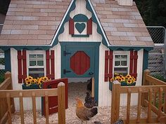 """An authentic """"chickenhous"""" Notice the Dutch doors and the little chimney. SO cute!"""