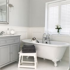 Family Bathroom, Bathroom Ideas, Cottage Renovation, Cottage Homes, Bathroom Interior Design, White Bathroom, Clawfoot Bathtub, New Homes, Bathrooms