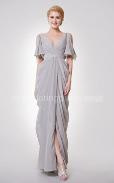 Deep-V Neck Long Formal Dress with Split Sleeves Submerge yourself in the diaphanous feel of our chiffon attire and give exposure to your arms and legs with off the shoulder V neck and a slit in the side. Our experts have spent hours finalizing this attire and that is the reason it guises a prepossessing air. No need to worry about shipping as we ship parcels on time.