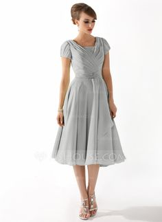 A-Line/Princess Square Neckline Knee-Length Chiffon Mother of the Bride Dress With Ruffle Beading (008005918) - JJsHouse
