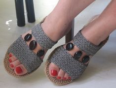 Update July 14th 2011. Finally had them soled. Cobbler gave me compliments for the masterpiece and another customer offered to buy! Uppers are made of raffia, soles are out of jute, embellishments...