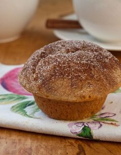 Sweet, cake-like and scented with cinnamon and nutmeg, these muffins taste remarkably like doughnuts.