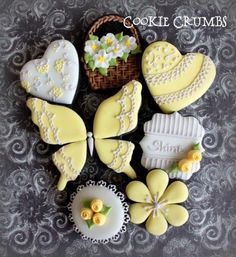 Yellow springtime cookies posted on Cookie Connection Cookies by mintlemonade Graceful butterfly, basket of flowers, hearts for Mom