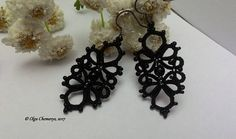 Black lace earrings, black earrings, tatting lace earrings, tatted earrings, long earrings