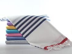 Sailor Beach Towel Navy Striped Beach Towel Red by MonCastle