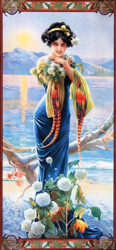 Девушки в стиле модерн испанского художника Гаспара Кампса (1874 - 1942).