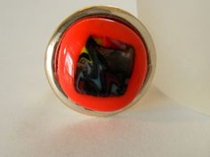 Red Fused Glass and Silver Adjustable Ring by uniquenique on Etsy, $18.00