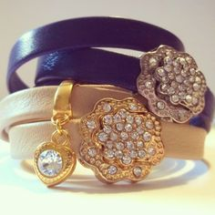 Silver or Gold? What do you like best?  #handmade #leather #bracelets #swarovskielements