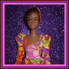 1967 - Mattel Black Francie Doll -1st Issue  #1100 -Wears Wild Flowers from ~ DOLL-LIGHTED TO MEET YOU ~ @ Doll Shops United http://www.dollshopsunited.com/stores/dolllighted/items/1297364/1967-Mattel-Francie-Doll-1st-Issue-1100-Wears-Wild #dollshopsunited