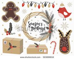 Christmas set with with gingerbread man, deer, gift box, wreath, bird, lettering and florals. Template for Greeting Scrapbooking, Congratulations, Invitations, Stickers, Paper notes.