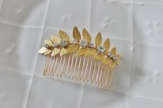 Gold leaf and rhinestone hair comb by PeacockandLotus on Etsy
