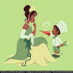Disney Fans with their favorites Princesses ❤️ Autor: Marciano Palácio - Illustration