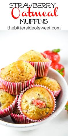Strawberry Oatmeal Muffins are a hearty, soft breakfast muffin! Studded with fresh strawberries, these portable muffins will become a delicious favorite!   | The Bitter Side of Sweet Strawberry Oatmeal Muffins, Pumpkin Oatmeal Muffins, Strawberry Breakfast, Strawberry Bread, Easy Desserts, Dessert Recipes, Breakfast Recipes, Pastries Recipes, Breakfast Dishes