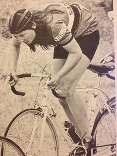 Audrey McElmury won the Womens' World Road Race Championship in Brno, Czechoslovakia in 1966 for the United States (crashed twice in a rainstorm, but prevailed).   photo: Stan Pantovic scanned from August/September 1972 Bike World