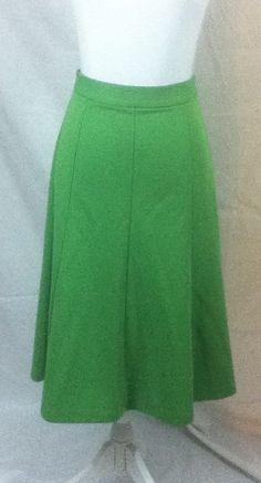 "TRUE VTG 1950s Tami Original Kelly Green Career Swing Sweep Skirt Sm  25"" Waist  #TamiOriginal"