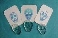 dia de los muertos sugar skull clear polymer rubber stamp set. $12.00, via Etsy.