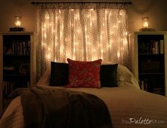 Make Your Own Dreamy Lit Headboard - It's Easier Than You Think! http://www.hometalk.com/12532017/s-14-string-light-ideas-that-are-cozier-than-your-bed?page_num=15
