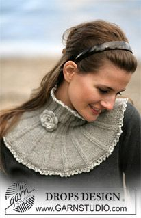 DROPS Neck warmer in Alpaca with border and flower in Cotton Viscose ~ DROPS Design