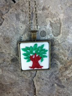 Tree of Life Embroidered Necklace, Long Necklace, Bohemian Jewelry, Boho Necklace, Hippie Jewelry by RedWorkStitches on Etsy