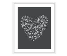 Love Heart  Art Print Nursery Decor Grey Valentines by AldariArt, $18.00