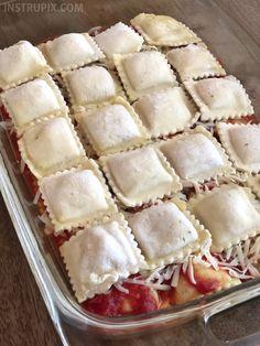 3 Ingredient Ravioli Bake (A. Lazy Lasagna) 3 Ingredient Ravioli Bake (A. Easy Baked Ravioli Recipe, Ravioli Bake, Meat Loaf Recipe Easy, Ravioli Lasagna, Ravioli Casserole, Lazy Lasagna, Veggie Lasagna, 3 Ingredient Recipes, 9x13 Baking Dish