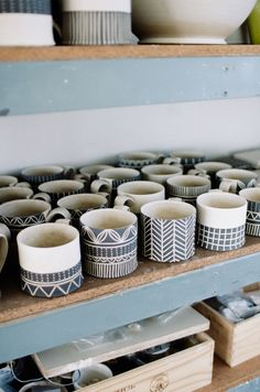 Nice patterns on these ceramic mugs, like that vertical herring bone, and have been thinking about using that same pattern on something I just made.