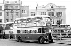 Vintage Brighton double decker Bus in the terminus at The Old Steine in Brighton