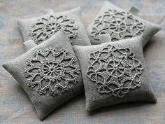 Lavender sachets -- crochet motif -- set of 2 Crochet Pincushion, Crochet Cushions, Pin Cushions, Crochet Motifs, Crochet Borders, Thread Crochet, Lavender Bags, Lavender Sachets, Couture Lin