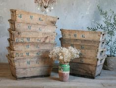 wooden bins