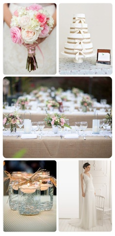 Article in the link :)    Pink burlap lace wedding inspiration wedding photography