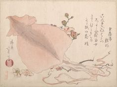 dried cuttlefish and plum blossoms. teisai hokuba (1771-1844). Japanese Painting, Japanese Art, Japanese Origami, Japanese Patterns, Fine Art Prints, Framed Prints, Canvas Prints, Chinese Prints, Historical Maps