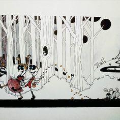 Inktober day 22 -Trail- #inktober #inktober2017 #inktoberday22 #inktoberprompts #ink #penandink #brushandink #brushpen #copic #bmitchleyart #koibrushpen #trail #hanselandgretel #character #comic #southafricanartist #southafrican #southafrica #artist #artistoninstagram #art #illustration #dailysketch #drawingink South African Artists, Brush Pen, Copic, Inktober, Trail, Photo And Video, Drawings, Illustration, Character