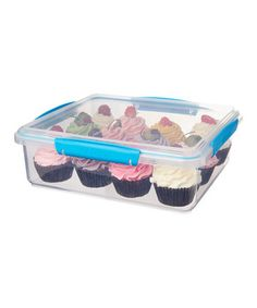This bakery box features easy-open locking clips with rubberized seals that ensure ingredients stay fresh. BPA- and lead-free, it keeps everything from chocolate chip cookies to bite-size brownies safe, while a unique stackable style ensures simple storage.
