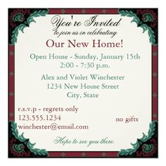Paisley Open House/Housewarming Party Personalized Invite