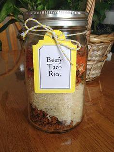 beefy taco rice and a jar