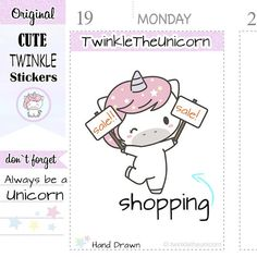 unicorn shopping planner stickers - shopping stickers - for your happy planner, filofax, live planner, organizers , calendars, bullet journals or whatever planner you love :-) VARIATIONS Different variations of this series available: