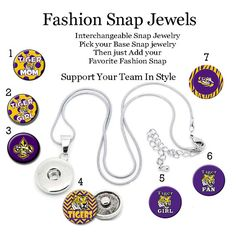 Mascot LSU Tiger Snap Collection, 18mm Fashion Snap Charm, fits our Large Fashion Snap Jewelry, ginger snaps, noosa snaps, chunk snaps