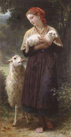 William Adolphe Bouguereau (1825-1905)L'agneau nouveauné. Oil on canvas1873. 165.1 x 87.6 cm