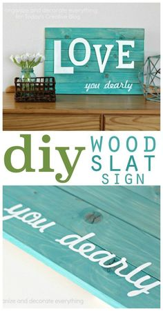 diy wood slat sign   Make your own wood wall art. Guest post by Organize and Decorate Everything for TodaysCreativeLife.com