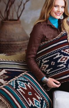 Adapt and create an afghan with same motif -- crochet pillows - western flair