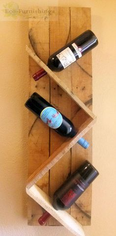 3 bottle modern pallet wine rack is perfect for smaller walls. Item:120