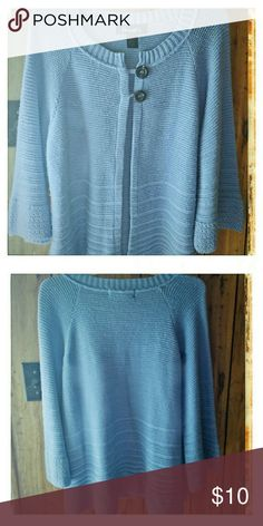 Denim & Co. Open front sweater cardigan Size XL and pre loved! This sweater cardigan has 3/4 sleeves and an open front aside from 2 buttons at the top! I've worn this probably 5 or 6 times, it has been well taken care of! It looks cute paired with jeans & boots on beautiful fall day when leaves are changing & so is your wardrobe! Denim & Co Sweaters Cardigans