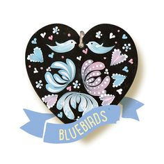 Our popular Bluebirds kit from our Series One range. All kits available from www.folkit.co bluebirds, painting, flowers